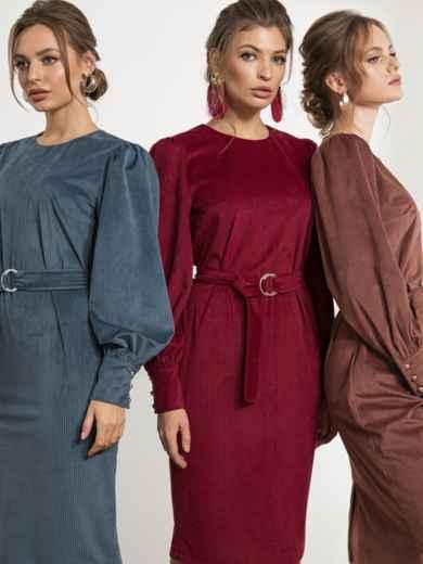Платье-футляр из вельвета бордовое 44204, фото 1