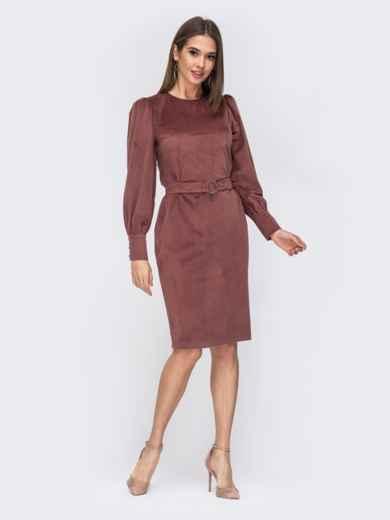 Платье-футляр из вельвета розовое 44203, фото 1