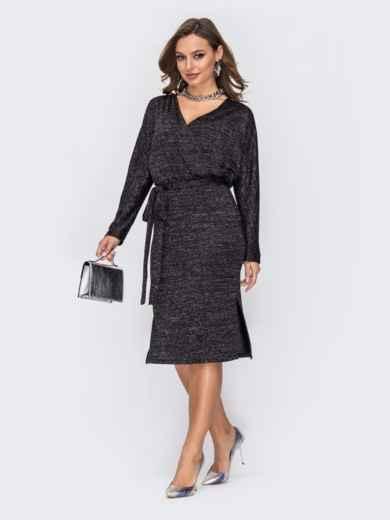 Платье с нитью люрекса и вырезом по спинке черное 52068, фото 2