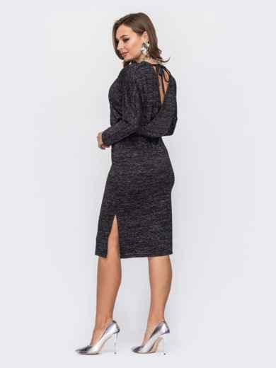 Платье с нитью люрекса и вырезом по спинке черное 52068, фото 3