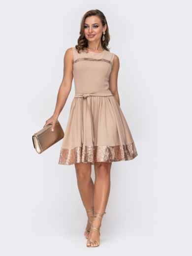 Бежевое платье-мини с пайетками и расклешенной юбкой 52065, фото 2