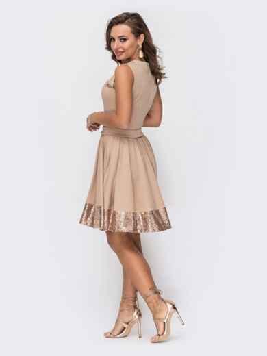 Бежевое платье-мини с пайетками и расклешенной юбкой 52065, фото 3