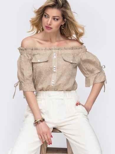 Бежевая блузка с принтом и открытыми плечами - 48420, фото 1 – интернет-магазин Dressa