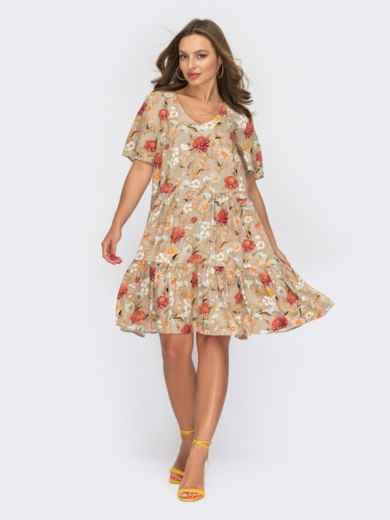 Бежевое платье с цветочным принтом и воланом по низу 53872, фото 1