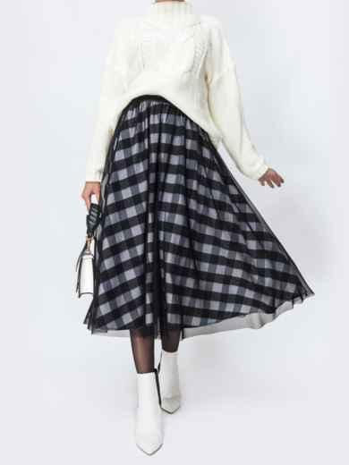 Двухслойная юбка-солнце чёрного цвета в клетку 44170, фото 1