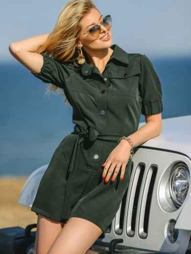 Комбинезон цвета хаки с накладными карманами 48455, фото 2