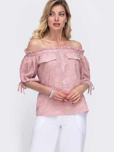 Розовая блузка с принтом и открытыми плечами 48421, фото 1