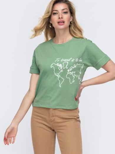 Зелёная футболка из хлопка с накаткой - 48635, фото 1 – интернет-магазин Dressa