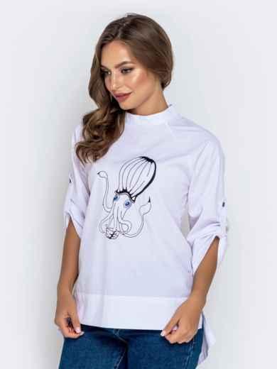 """Белая рубашка с воротником-стойкой и авторской вышивкой """"осьминог"""" 40855, фото 1"""