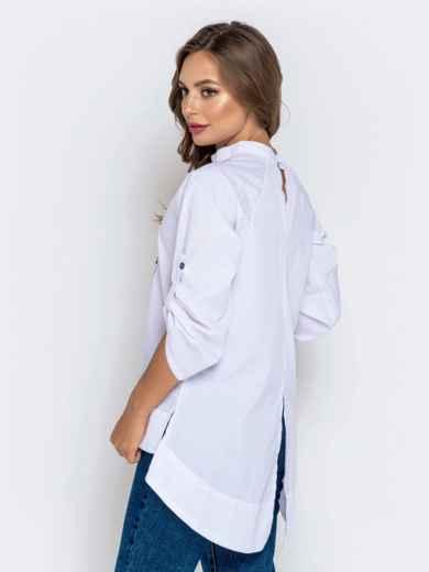"""Белая рубашка с воротником-стойкой и авторской вышивкой """"осьминог"""" 40855, фото 2"""