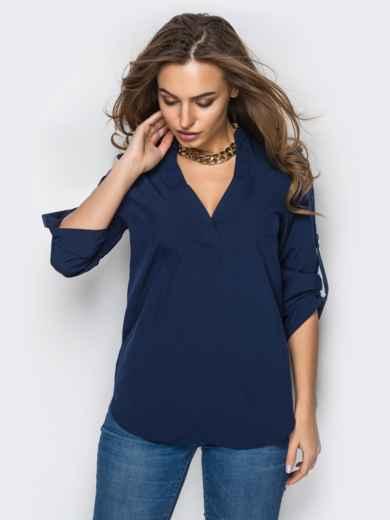 Темно-синяя блузка с V-образным вырезом 10170, фото 1