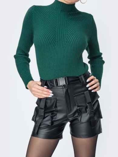 Чёрные шорты из эко-кожи с накладными карманами 44833, фото 2
