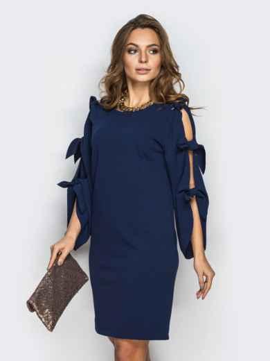 Тёмно-синее платье с завязками на рукавах 13519, фото 1
