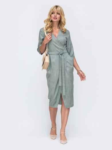 Зеленое платье на запах из рогожки с объемными карманами 50055, фото 1