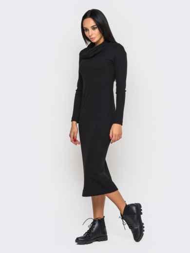 Чёрное платье-гольф с разрезами по бокам 27184, фото 7