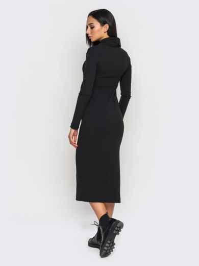 Чёрное платье-гольф с разрезами по бокам 27184, фото 8