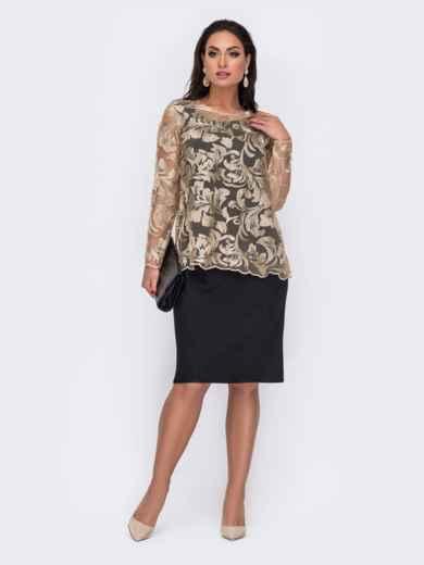 Черный комплект большого размера из блузки и платья 52283, фото 1