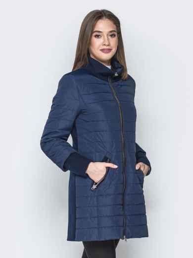Синяя куртка с манжетами из кашемира и воротником 20231, фото 2