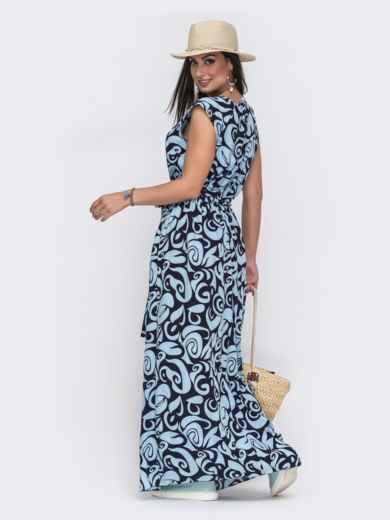 Голубое платье батал свободного кроя с принтом 49717, фото 2