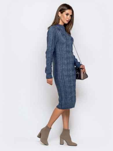Вязаное платье-миди с косами синее 41061, фото 2