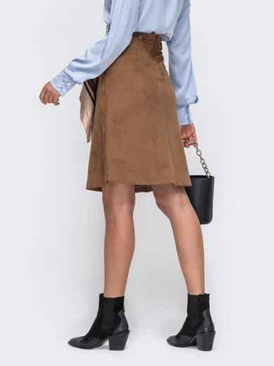 Коричневая юбка-трапеция из искусственной замши со шлевками 50346, фото 3