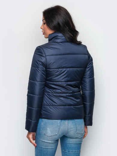 Тёмно-синяя демисезонная куртка с накладными карманами 15178, фото 2