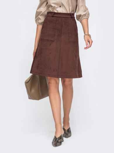 Юбка-трапеция из искусственной замши со шлевками коричневая - 50345, фото 1 – интернет-магазин Dressa