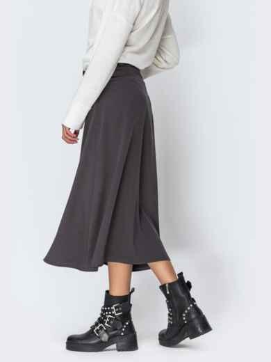 Атласная юбка-трапеция серого цвета 42473, фото 2