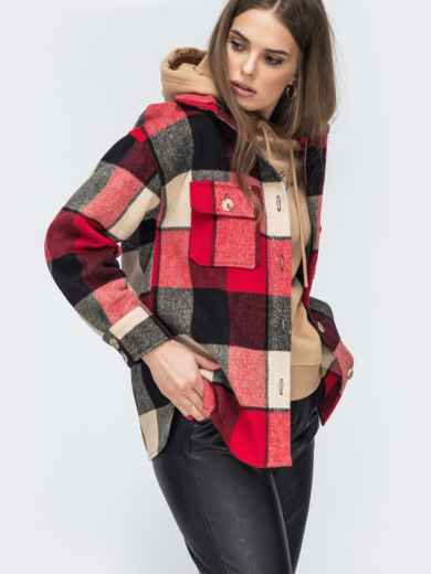 Красная рубашка в клетку с накладными карманами 45098, фото 2