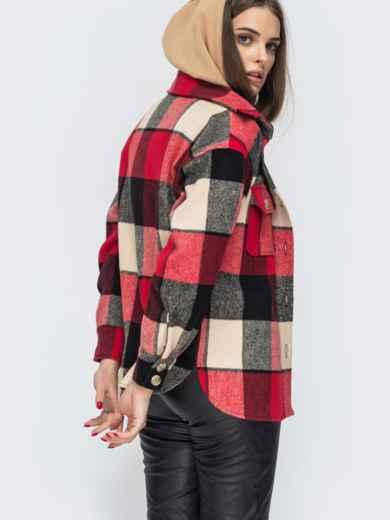 Красная рубашка в клетку с накладными карманами 45098, фото 3