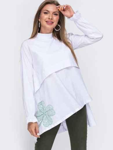 """Рубашка с вышивкой """"клевер"""" и асимметричным низом белая 49467, фото 2"""