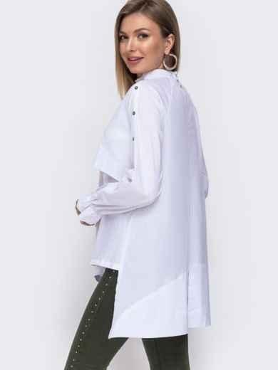 """Рубашка с вышивкой """"клевер"""" и асимметричным низом белая 49467, фото 3"""