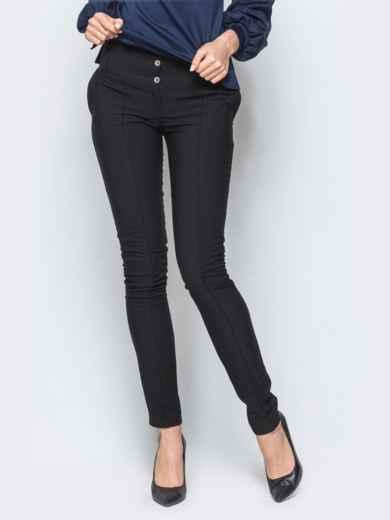 Брюки черного цвета на флисе с высоким поясом - 17739, фото 1 – интернет-магазин Dressa