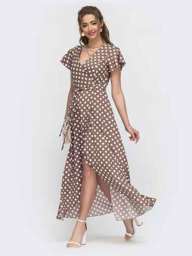 Длинное платье с запахом в горох светло-коричневое - 46649, фото 1 – интернет-магазин Dressa