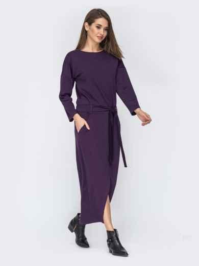 """Фиолетовое платье с рукавом """"летучая мышь"""" 44200, фото 2"""