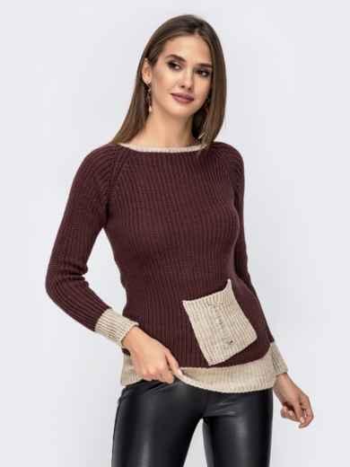 Коричневый свитер крупной вязки с накладным карманом 41573, фото 1