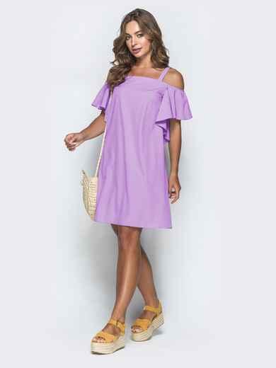 Свободное платье с открытыми плечами сиреневое 46644, фото 1