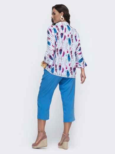 Голубой комплект большого размера с принтованной блузкой 49938, фото 2