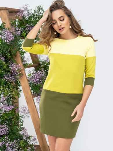 Платье прямого кроя желтое 44993, фото 1