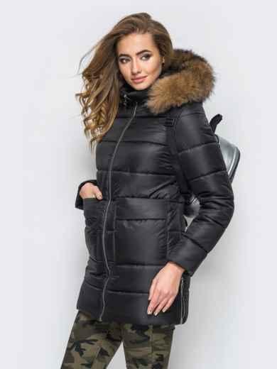 Зимняя куртка черного цвета с функциональными молниями по бокам 15252, фото 2