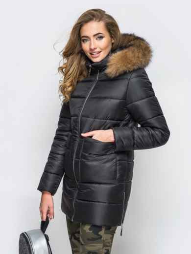 Зимняя куртка черного цвета с функциональными молниями по бокам 15252, фото 3