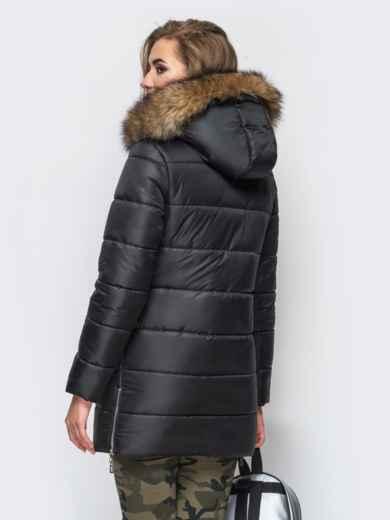 Зимняя куртка черного цвета с функциональными молниями по бокам 15252, фото 4