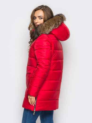 Зимняя куртка красного цвета с функциональными молниями по бокам 15250, фото 2
