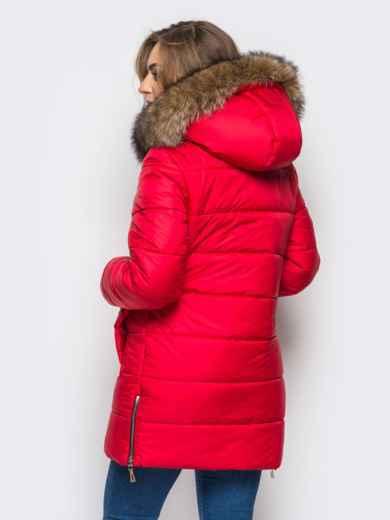 Зимняя куртка красного цвета с функциональными молниями по бокам 15250, фото 3