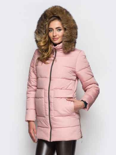 Зимняя куртка розового цвета с функциональными молниями по бокам 15248, фото 2