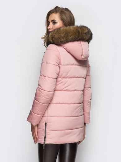Зимняя куртка розового цвета с функциональными молниями по бокам 15248, фото 3