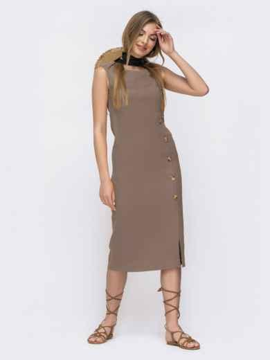 Платье приталенного кроя из льна бежевое 46767, фото 1