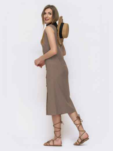 Платье приталенного кроя из льна бежевое 46767, фото 2