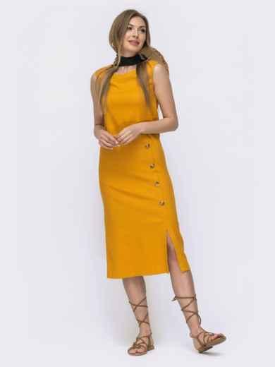 Платье приталенного кроя из льна желтое 46766, фото 1