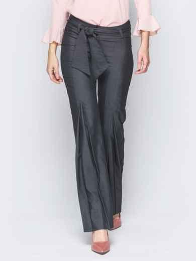 Серые брюки на молнии со встречными складками 18860, фото 1